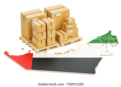 Shipping and Delivery from UAE isolated on white background