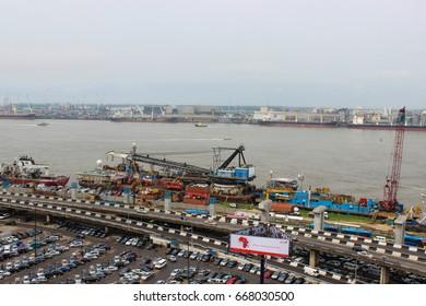 SHIPPING DOCK, NIGERIA -  June 28, 2017: Shipping dock in Marina, Lagos Nigeria on June 28, 2017
