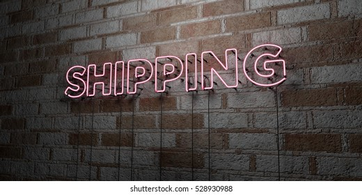 SHIPPING - Glowing Neon Sign on stonework wall - 3D rendered royalty free stock illustration.  Can be used for online banner ads and direct mailers.