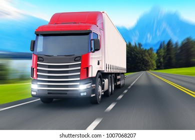 Shipping industry, logistics transportation and cargo freight transport industrial business commercial concept: 3D render of the white semi-truck or container auto car trailer on road with motion blur