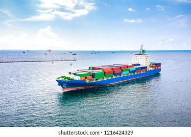 shipping loading cars containers business transactions open sea Asian pacific import and export logistics oceans service by shipping business industry aerial view from drone camera