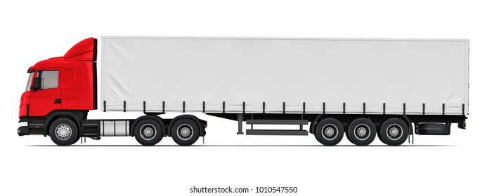 Shipping, logistics and freight delivery business commercial concept: 3D render illustration of the side profile view of red semi-truck isolated on white background