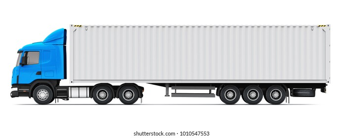Shipping, logistics and freight delivery business commercial concept: 3D render illustration of the side profile view of blue semi-truck with 40 ft heavy cargo container isolated on white background