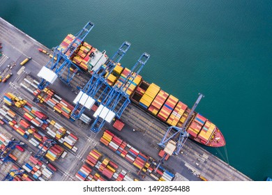 shipping port logistics cargo transportation import export international open sea aerial view from drone camera in Thailand