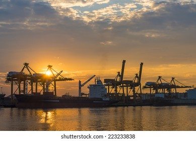 Shipping port with sun rise