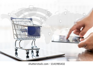 Shipping service for online shopping or ecommerce concept.