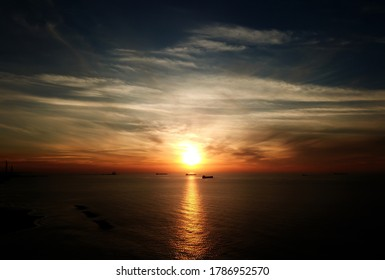 Ships at anchorage in front of Ashkelon during sunset