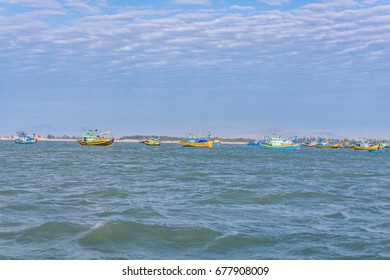 Ships anchoring in sea