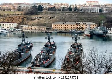 Ships in the Bay of Sevastopol, Ukraine. 11-02-2006