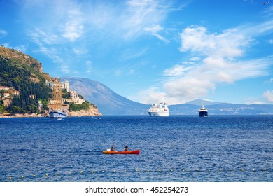 Ships before the gates of Dubrovnik, Croatia.