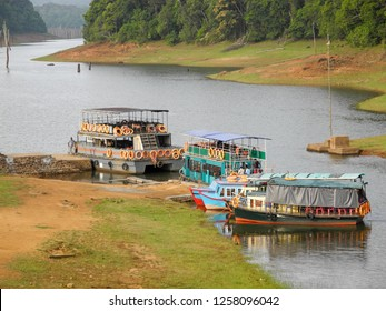 Ships and boats in Periyar nature reserve in Kerala.