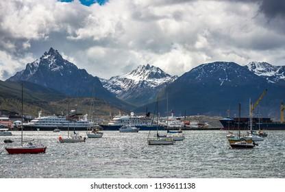 Ships and boats at Ushuaia Bay, Patagonia - Argentina