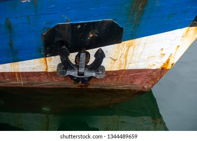 Ships bow and anchor, detail of an old fishing ship