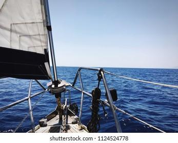 Ship's bow. Close up of sailboat's bow. Sailing, travel, yachting