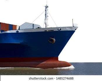 Ship's bow, Container Cargo ship on white background for maritime freight concept