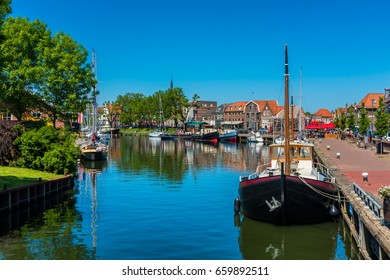 Ships in Canal in City Center of Enkhuizen Netherlands