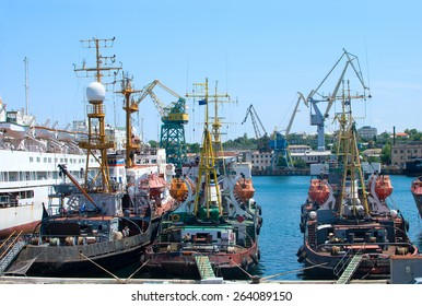 Ships and cruise liner in the docks of Sevastopol port, Black sea