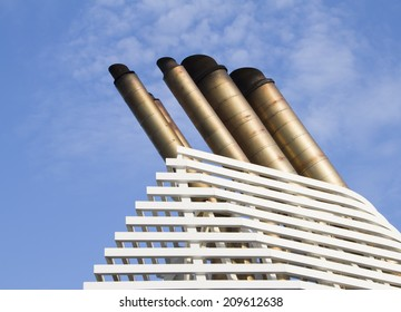 Ships funnels with blue sky background