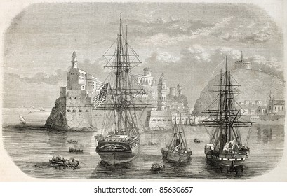 Ships in Gaeta port, Italy. Created by Lebtreton after sketch of Brocard, published on L'Illustration, Journal Universel, Paris, 1860