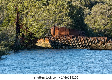 Ships Graveyard, rusted remains of a wrecked ship in a tidal mangrove forrest. Red rust corrosion and rivets. Landscape orientation background.