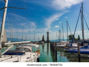 Ships in the harbour of the city of Lindau at the Lake Constance or Bodensee in southern Germany