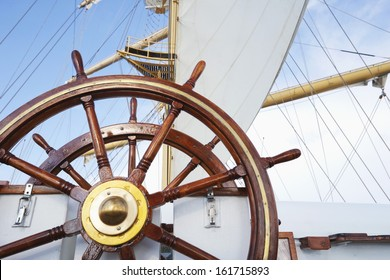 Ships helm on deck of a clipper ship, Italy