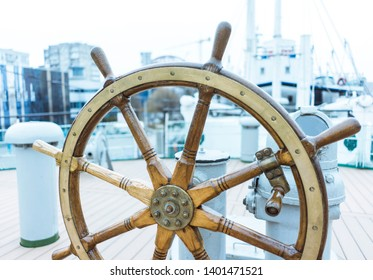 The Ship's Helm, Ship rudder, The Steering Wheel is Still Ready to Work, Vintage Wooden And Brass Ship's Steering Wheel Rudder
