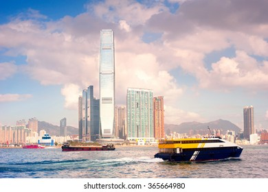 Ships in Hong Kong harbor. View of Kowloon island