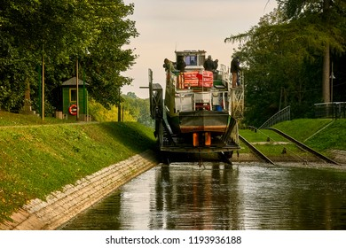 Ships in inland navigation on the Elbląg Canal, Poland