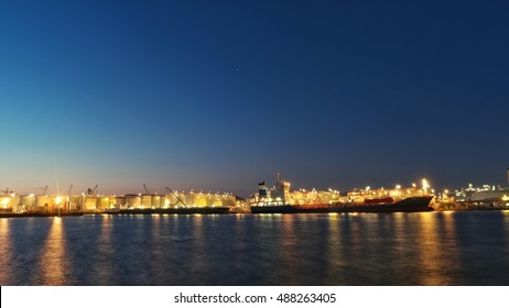 Ships loading oil and chemical at Antwerpen Lbc terminal, Antwerpen harbor, Belgium September 2016  Antwerpen port night