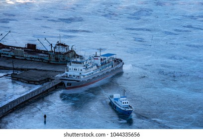 ships locked in ice on a frozen lake Khovsgol in Northern Mongolia