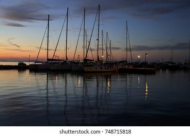 Ships in Naxos Harbour in Greece