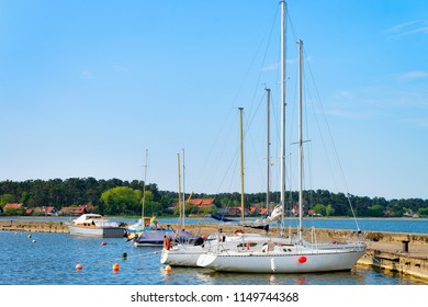 Ships at Nida resort town near Klaipeda in Neringa on the Baltic Sea in the Curonian Spit in Lithuania.
