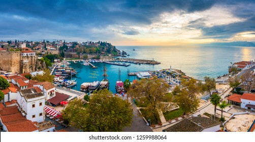 Ships in the old harbour in Antalya (Kaleici), Turkey. Old town of Antalya is a popular Tourist destination in Turkey.