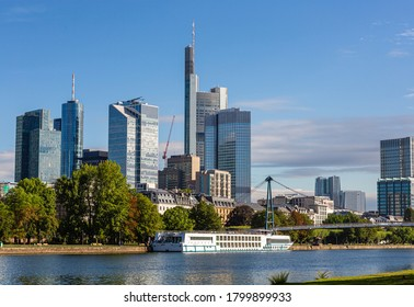 Ships on the Main in Frankfurt. River transport. River in the city center. Relax by the water. City tour.
