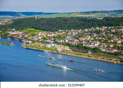 Ships on Rhine river near Bingen am Rhein, Rheinland-Pfalz, Germany