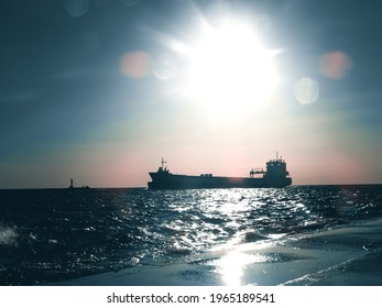 ships on sea during sunset - Shutterstock ID 1965189541