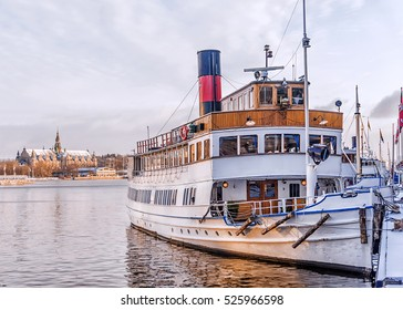 ships on the waterfront in Stockholm