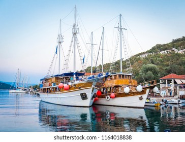 Ships at the pier in the evening on the island of Mljet, Croatia