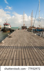 Ships at pier. Somewhere in mediterranean