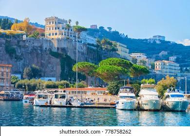 Ships at Port of Marina Grande in Sorrento, Tyrrhenian sea, Amalfi coast, Italy