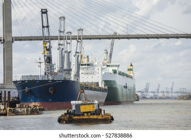 Ships in port in the port of Savannah, Georgia