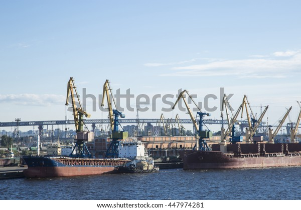 Ships in the port of St. Petersburg. Gulf of Finland, Baltic sea.