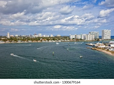 Ships running through the inlet that carries them out to the Atlantic Ocean in Fort Lauderdale, Florida