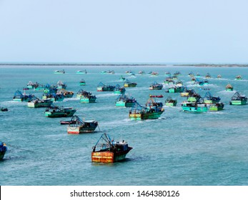 Ships in the sea, Gulf of Mannar Biosphere Reserve, Tamil Nadu, India.