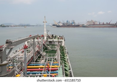 Ship's side in Santos' river, Brazil