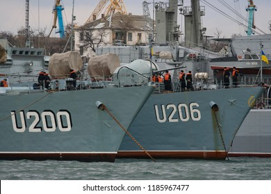 The ships of the Ukrainian Navy are the  corvette Lutsk (U200) and corvette Vinnytsia (U206)  in Sevastopol Bay. Crimea, Ukraine.  11-02-2006