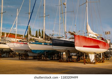 ships are waiting for repairs in dockyard