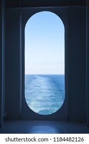Ship's Wake.  The view from a ship's stern as it travels across the ocean.