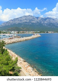 Ships and yachts in the harbor in Kemer, Turkey